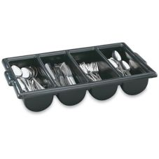 Vollrath® 52653 Black 4-Compartment Cutlery Box