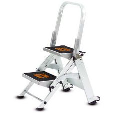 Two Step Ladder, W/ Handrails & Casters, 300 lb Rating