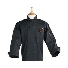 Uncommon Thread 0402BXXXL Black 3X-LG Chef Coat W/ Thermometer Pocket