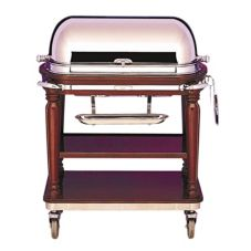 "Bon Chef 50000 Mahogany 42"" Roast Beef Trolley w/ Rollback Cover"