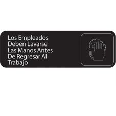 Traex 4531 Spanish EMPLOYESS MUST WASH HANDS Sign w/ White Letters