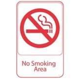 Vollrath 5643 Traex® Black NO SMOKING AREA Sign with White Letters