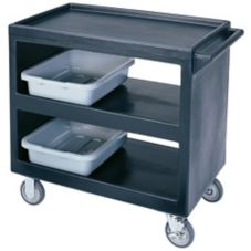 "Cambro BC235110 Black 37-1/4"" x 21-1/2"" Open Side 3-Shelf Service Cart"