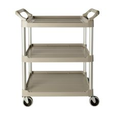 Rubbermaid® FG342488PLAT 3-Shelf Utility Cart with Swivel Casters