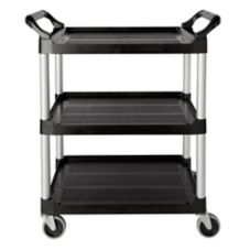 "Rubbermaid Black 3-Shelf Utility Cart w/ 4"" Swivel Casters"