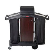Rubbermaid® FG9T9500BLA Black Deluxe Paneled Housekeeping Cart