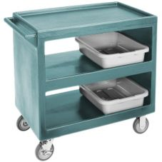 "Cambro BC2354S191 Granite Green 21"" x 32"" (3) Shelf Open Service Cart"
