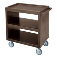 "Cambro Dark Brown Open Side 3-Shelf Service Cart w/ 5"" Casters"