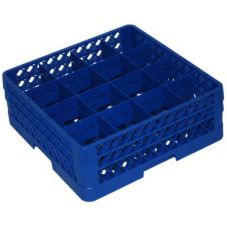 Traex® TR8DD-44 Blue 16 Compartment Glass Rack with 2 Extenders