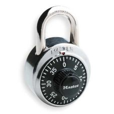 Master Lock Combination Padlock, Center Dial, Black and Chrome