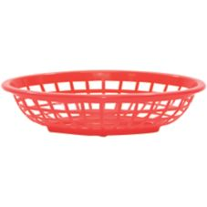 "TableCraft 1071R 7-3/4"" Red Oval Side Order Basket - Dozen"