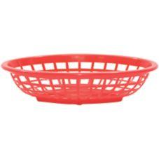 """Tablecraft 1071R 7-3/4"""" Red Oval Side Order Basket - Dozen"""