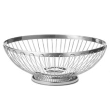 "Tablecraft 6171 Regent 7"" x 6"" Stainless Steel Oval Basket"