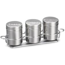 Tablecraft 758X 3-Piece 6 Oz. Countertop Shaker Set with Chrome Rack