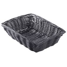 "Tablecraft 2472 9"" x 6"" Black Woven Plastic Basket - Dozen"