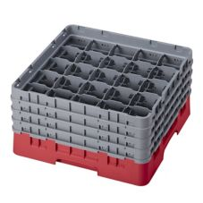 "Cambro 25S800163 Red 8-1/2"" Full - 4 Extenders Glass Rack - 2 / CS"