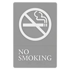 "Quartet® 1412 Gray / White 6"" x 9"" No Smoking Sign"