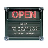 Quartet Black Single-Sided Open Closed Sign W/ Message Board