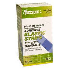 Afassco 438 Fine Woven Blue Metallic Adhesive Bandage Strips - 50 / BX