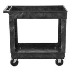 "Rubbermaid Black 2-Shelf Utility Cart, 34"" x 16"""