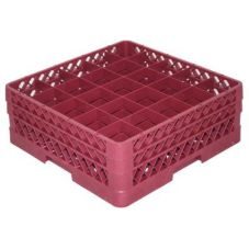 Vollrath TR6BB-21 Traex Burgundy 25 Comp. Glass Rack w/ 2 Extenders