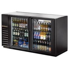 True® Black 2-Swing Glass Door Back Bar Cooler for 94 6-Packs