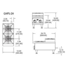 APW Wyott Stepped Series Champion Gas 2 Burner Hotplate, GHPS-2H