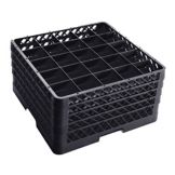 Traex® TR6BBBB-06 Black 25 Compartment Glass Rack with 4 Extenders