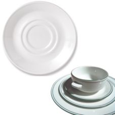 "Steelite 13150165 Simplicity Laguna 4.6"" Double Well Saucer - 36 / CS"