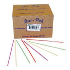 "Bunzl 68170204 5"" Red / White Unwrapped Coffee Stirrer - 10 / CS"