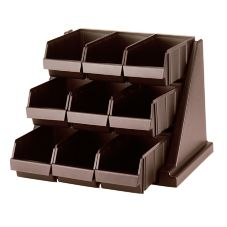 Cambro® 9RS9131 Versa Dark Brown 9-Bin Organizer Rack