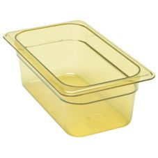 "Cambro® 44HP150 Amber 1/4 Size High Heat H-Pan™ 4"" High"