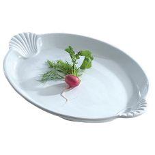 """Bon Chef 20739059 WHITE Sandstone 20"""" X 14"""" Pedestal Platter"""