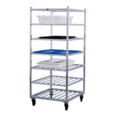 New Age Industrial 1357 Aluminum Double Platter Cart with 7 Shelves