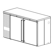 "Perlick® CS60ST 34"" High 2-Section Cooler with Glass Doors"