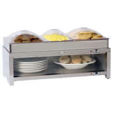 Cadco CMLB-CSLP Warming Cabinet with Buffet Server & Clear Lids