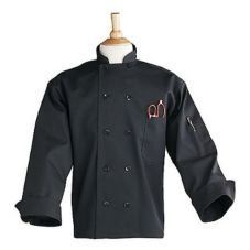 Black Chef Coat w/10 Pearl Buttons, Small
