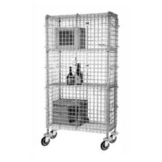 "Focus Foodservice Chromate 24 x 60 x 63"" Mobile Security Cage Kit"