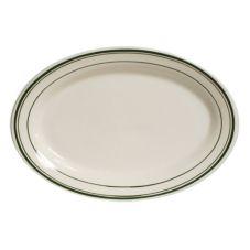 "Tuxton TGB-043 Green Bay 14-1/8"" x 10"" Eggshell Oval Platter - 12 / CS"