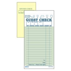 Green 2-Part Interleaving Carbon 17-Line Guest Check w/ Yellow Copy