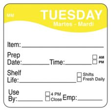 "DayMark MoveMark™ 2"" Tuesday Shelf Life Day Square"