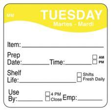 "DayMark 1122122 MoveMark 2"" Tuesday Shelf Life Day Square - 500 / RL"