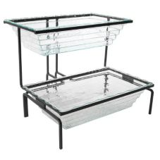 Gourmet Display BH2302-B Black Iron 2-Tier Display with 2 Insert Pans