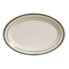 """Tuxton TGB-012 Green Bay 10.5"""" Eggshell Oval Platter - 24 / CS"""