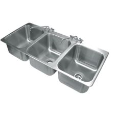 "Advance Tabco DI-3-1612 16"" x 20"" x 12"" 3-Compartment Drop-In Sink"