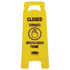Rubbermaid® FG611278YEL Multilingual 2-Sided Closed Safety Sign
