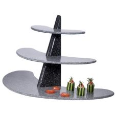 Gourmet Display® Black 3-Tier Winged Serving Stone Display