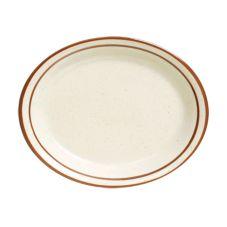 """Tuxton TBS-012 Bahamas 9-1/2"""" x 7-1/2"""" Eggshell Oval Platter - 24 / CS"""