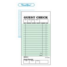 Green 1-Part Board 15-Line Guest Check