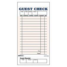 DayMark 112797 Pink 1-Part Board 15-Line Guest Check - 50 /CS